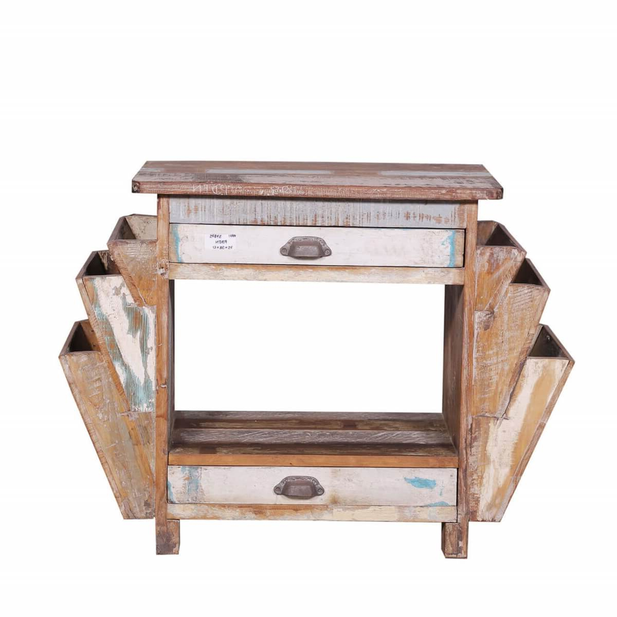 Ames Rustic Reclaimed Wood End Table With Double Magazine Rack Pertaining To Well Known Ames Sideboards (View 2 of 20)