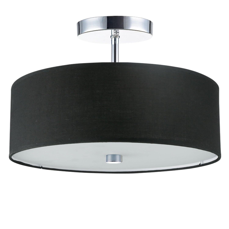 Annuziata 3 Light Unique/statement Chandeliers Pertaining To Fashionable 3Lt Incandescent Semi Flush Pc W/ Black Shade, Dainolite (View 5 of 20)