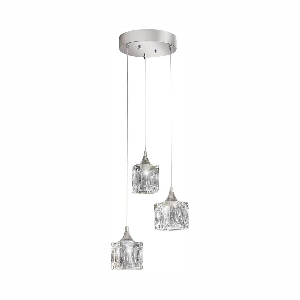 Annuziata 3 Light Unique/statement Chandeliers With Regard To Most Current Home Decorators Collection 3 Light Polished Chrome Integrated Led Pendant With Clear Cube Glass (View 13 of 20)