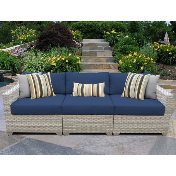 Ansonia Patio Sofa With Cushions For Current Wrobel Patio Sectionals With Cushion (View 1 of 20)