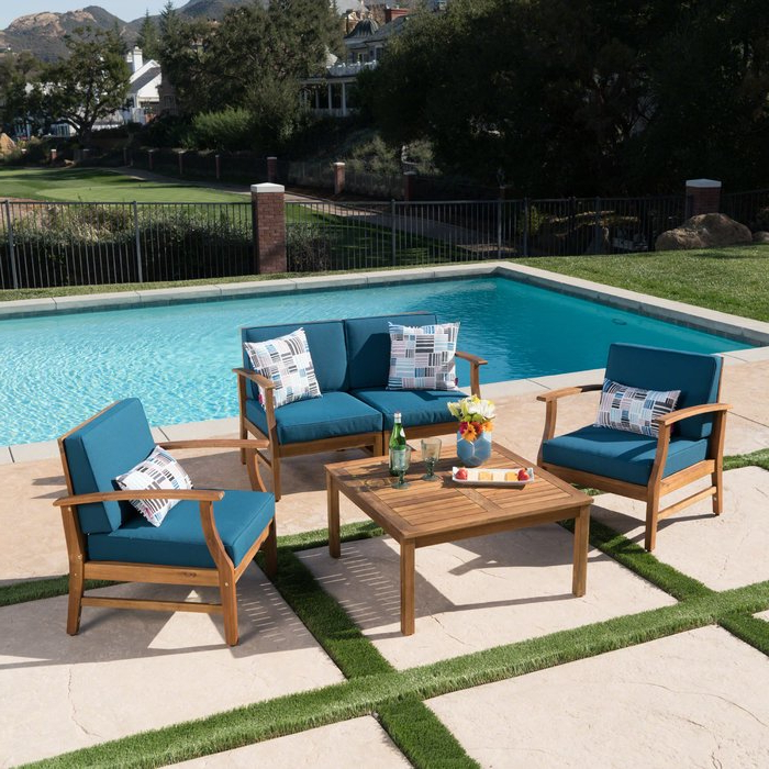 Antonia 4 Piece Sofa Set With Cushions Regarding Trendy Antonia Teak Patio Sectionals With Cushions (View 7 of 20)