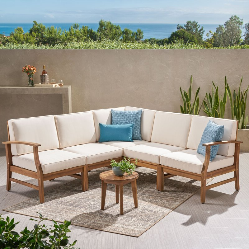 Antonia Teak Patio Sectional With Cushions Intended For Well Liked Lorentzen Patio Sectionals With Cushions (Gallery 6 of 20)