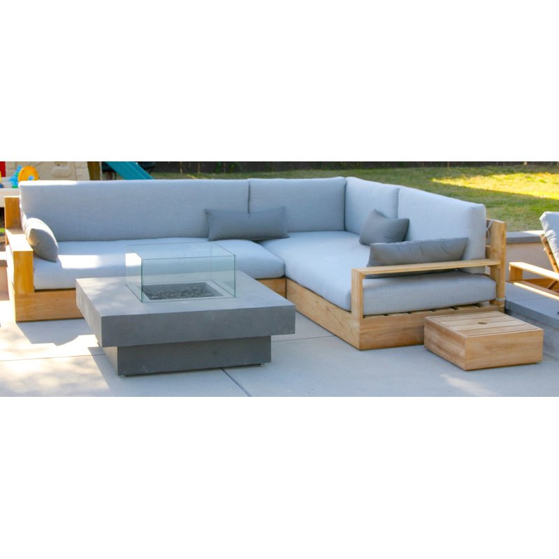 Antonia Teak Patio Sectionals With Cushions Regarding Popular Bale 3 Piece Teak Sunbrella Sectional Set With Cushions (View 6 of 20)