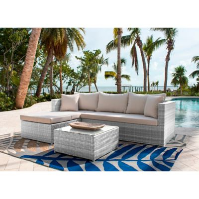 Athens 3 Piece Patio Sectional Sofa Set In White Wash With In Well Liked Ellison Patio Sectionals With Cushions (Gallery 13 of 20)