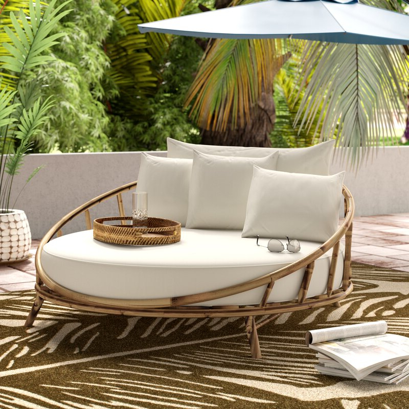 Aubrie Patio Daybeds With Cushions With Regard To Widely Used Olu Bamboo Large Round Patio Daybed With Cushions (View 7 of 20)