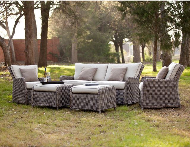 Avadi Outdoor 5Pc Set Regarding Well Known Avadi Outdoor Sofas & Ottomans 3 Piece Set (View 2 of 20)