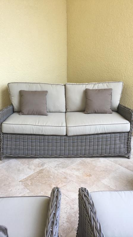 Avadi Outdoor Sofas & Ottomans 3 Piece Set For 2020 Southern Enterprises Avadi 5 Piece Outdoor Set In Gray And Beige (View 4 of 20)