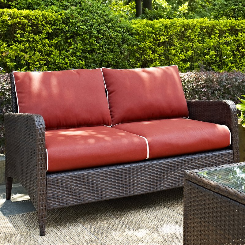 Avadi Outdoor Sofas & Ottomans 3 Piece Set With Regard To Most Recent Mosca Patio Loveseat With Cushions (Gallery 20 of 20)