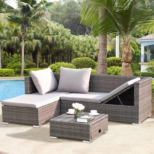 Backyard Decor In Throughout Recent Rowley Patio Sofas Set With Cushions (View 2 of 20)