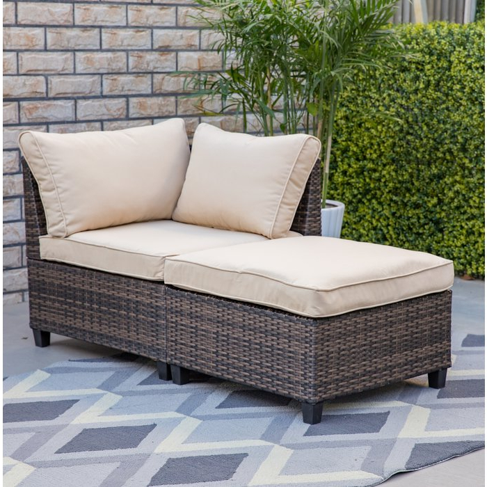 Bafford 2 Piece Corner Chair And Ottoman Within Preferred Avadi Outdoor Sofas & Ottomans 3 Piece Set (View 7 of 20)