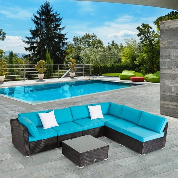 Baltic Patio Sofas With Cushions For 2020 Shop Kinbor 7 Piece Patio Furniture Set All Weather Outdoor (View 4 of 20)
