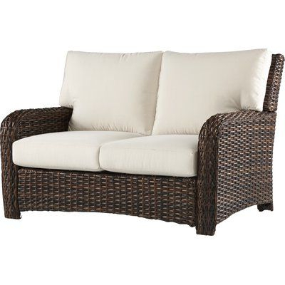 Bay Isle Home Chorio Loveseat With Cushions Frame Color For Fashionable Mullenax Outdoor Loveseats With Cushions (Gallery 10 of 20)