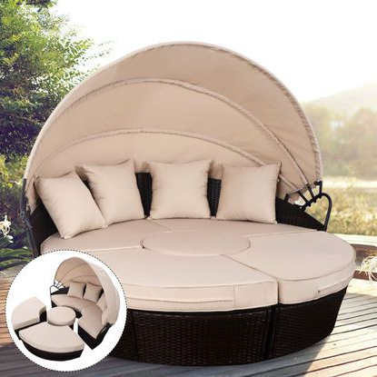 Behling Canopy Patio Daybeds With Cushions Inside Best And Newest $426 Costway Outdoor Mix Brown Rattan Patio Sofa Furniture (View 5 of 20)