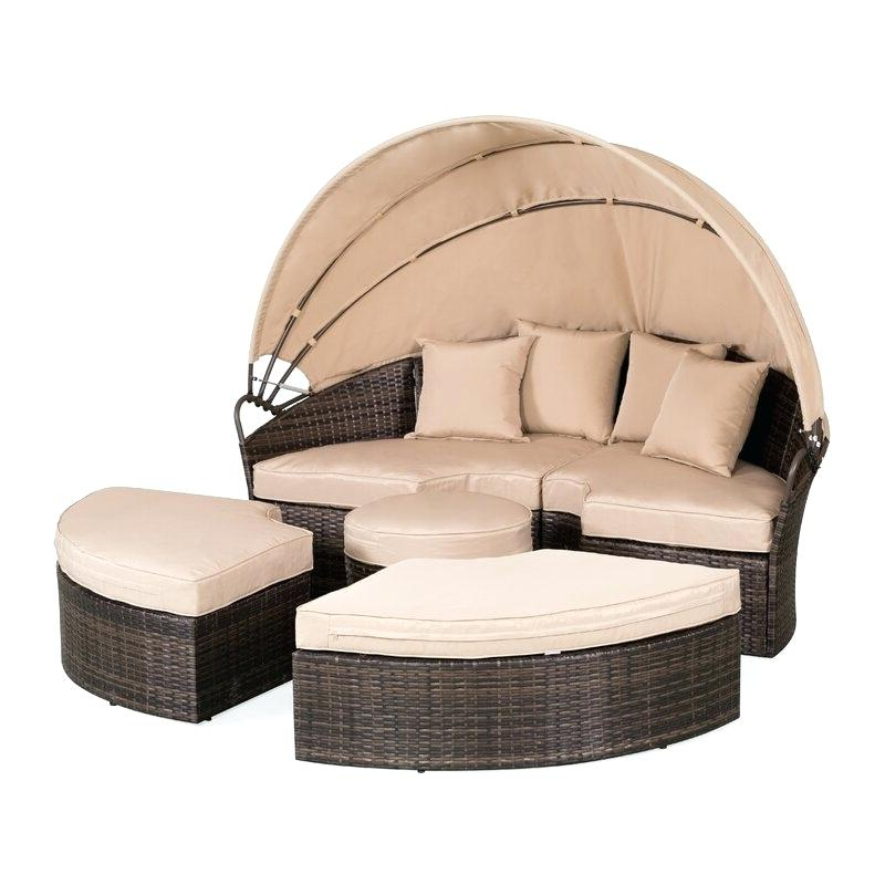 Behling Canopy Patio Daybeds With Cushions Intended For Most Current Wicker Daybed With Canopy – Ethelenetrepanier.co (Gallery 4 of 20)