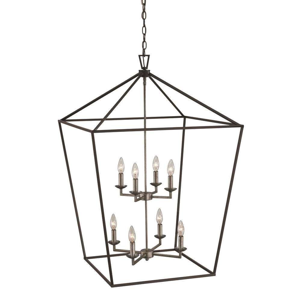Bel Air Lighting Lacey 8 Light Antique Silver Leaf Pendant Throughout Well Liked Carmen 8 Light Lantern Tiered Pendants (View 10 of 20)