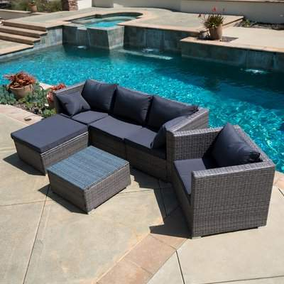 Belleze 6 Piece Sectional Set With Cushions Belleze Within Well Known Hursey Patio Sectionals (View 19 of 20)