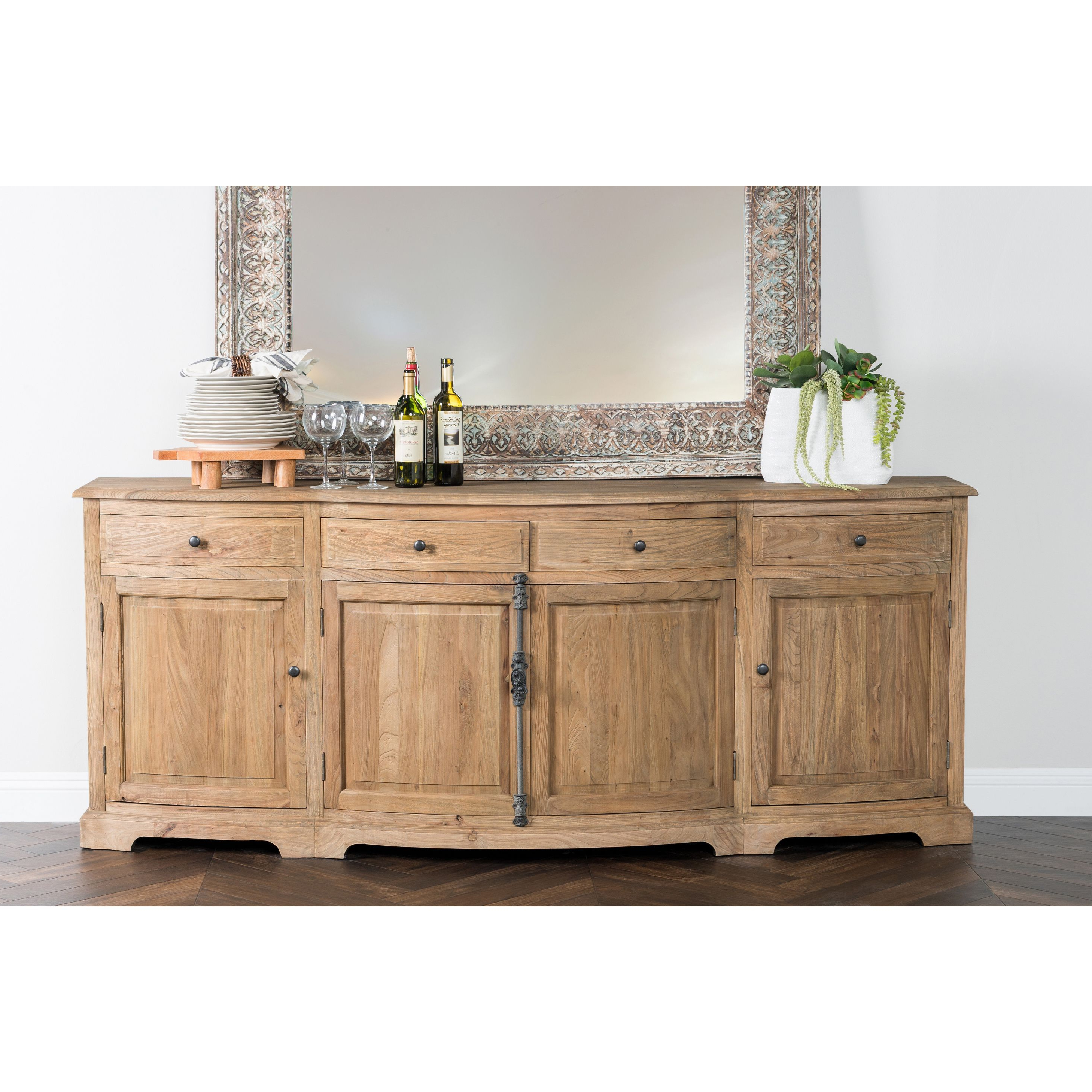 Benjamin Reclaimed Wood Natural 87 Inch Sideboardkosas Inside Widely Used Ames Sideboards (Gallery 7 of 20)