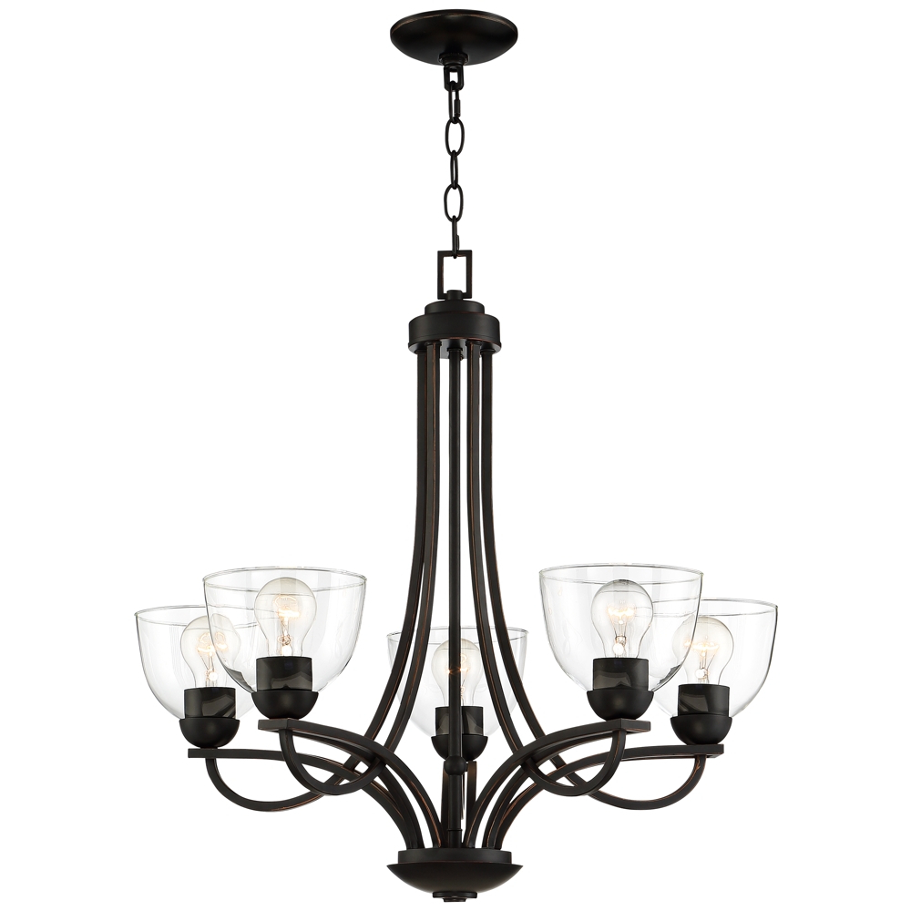 """Bennington 26"""" Wide Bronze 5 Light Chandelier – Style Pertaining To Most Recent Gaines 5 Light Shaded Chandeliers (View 3 of 20)"""