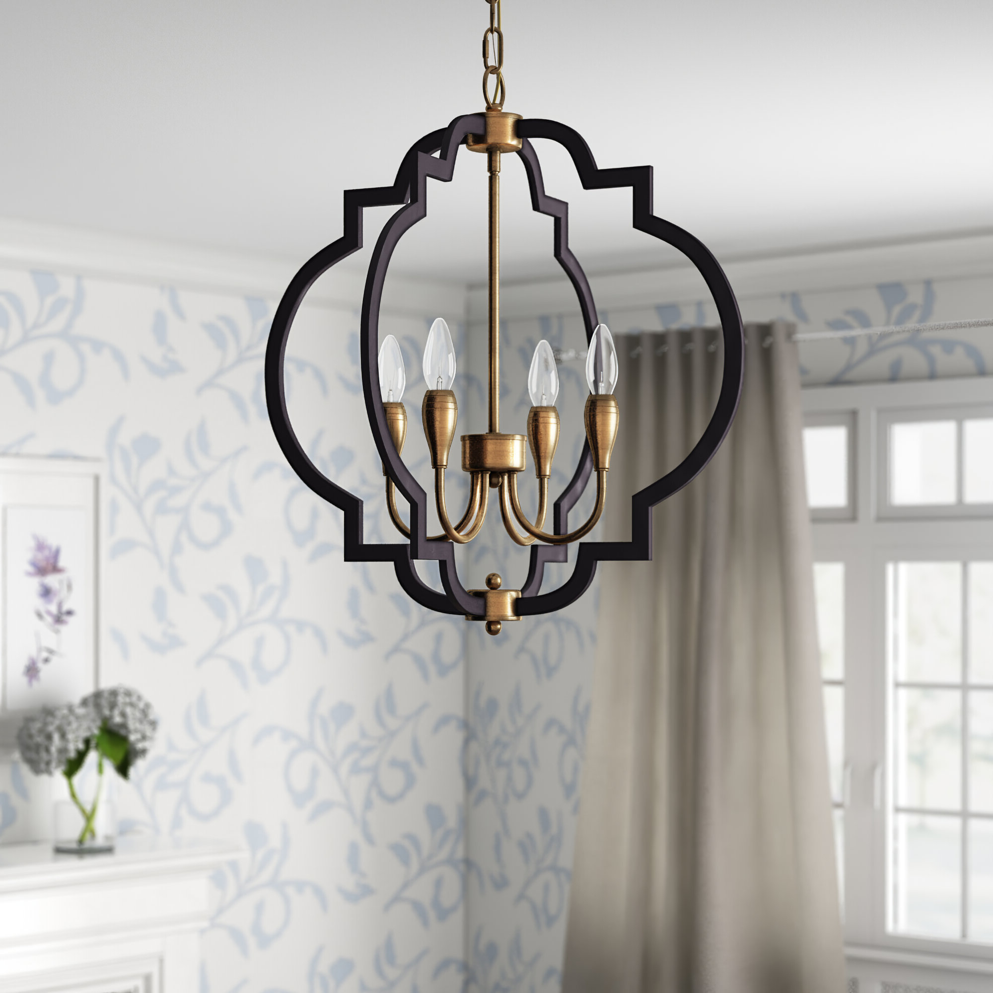 Bennington 4 Light Candle Style Chandeliers Within Favorite Astin 4 Light Geometric Chandelier (View 18 of 20)