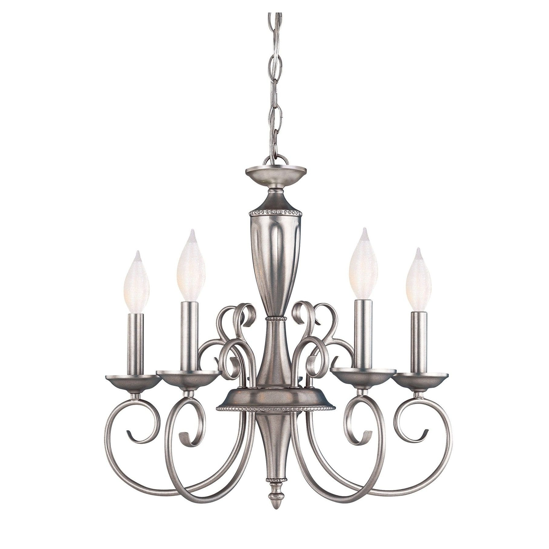 Berger 5 Light Candle Style Chandeliers Pertaining To Fashionable Spirit 5 Light Chandelier Pewter In  (View 5 of 20)
