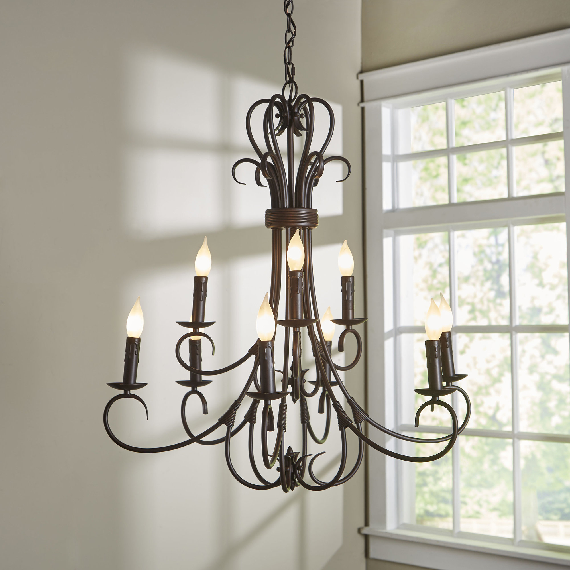 Best And Newest Alcott Hill Gaines 9 Light Candle Style Chandelier With Regard To Gaines 5 Light Shaded Chandeliers (View 4 of 20)