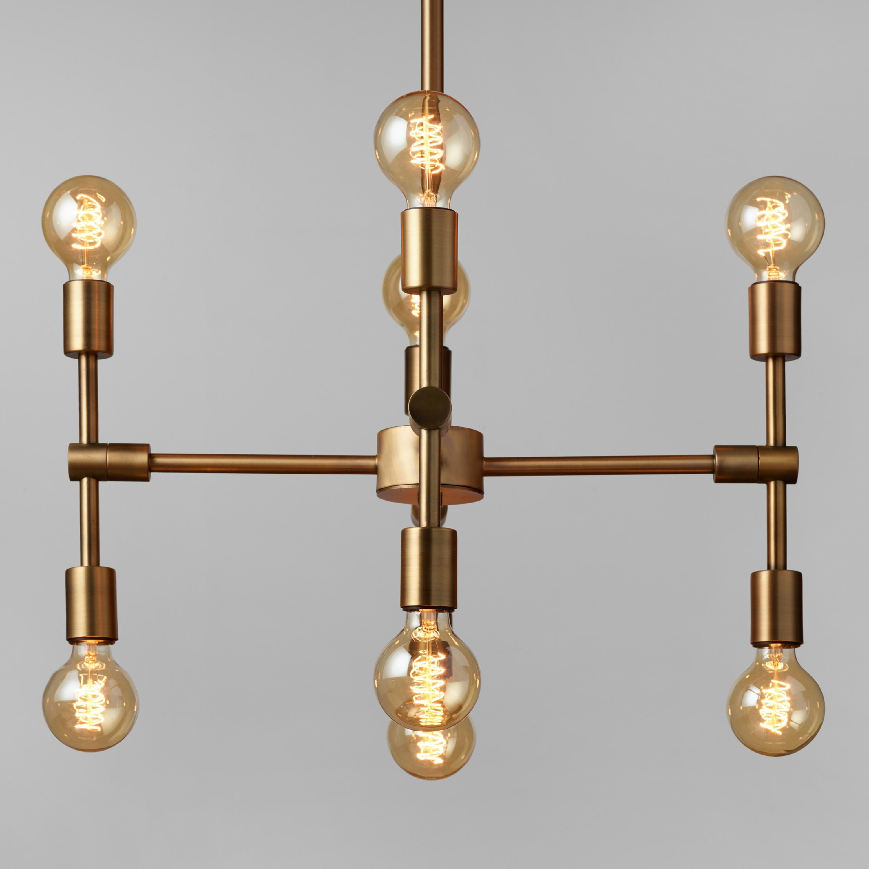 Best And Newest Bautista 6 Light Kitchen Island Bulb Pendants For Antique Gold Modular 8 Bulb Chandelier (View 11 of 20)