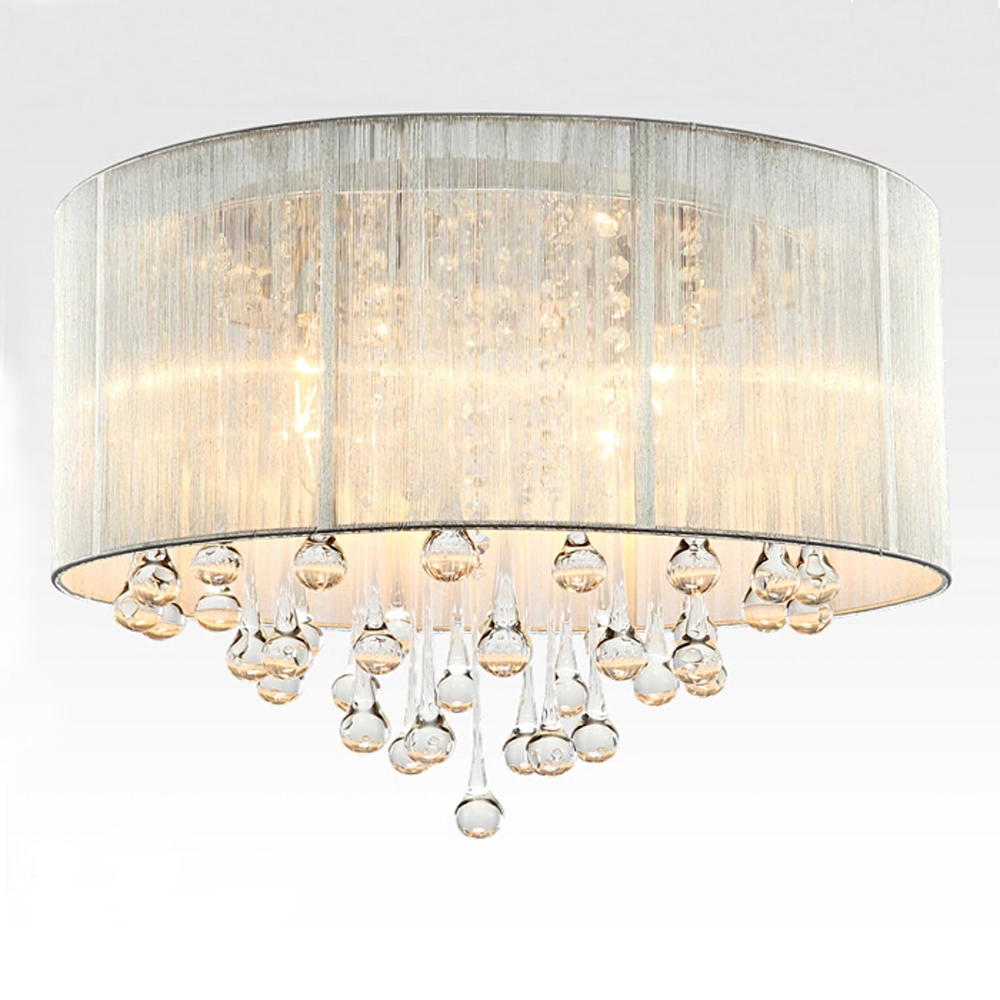 Best And Newest Crystal 4 Light White Drum Shade Chrome Flush Mount For Lindsey 4 Light Drum Chandeliers (View 18 of 20)