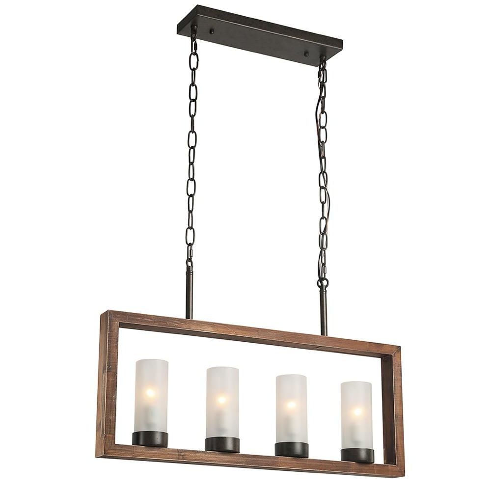 Best And Newest Ellenton 4 Light Rectangle Chandeliers For Lnc 4 Light Bronze Wood Chandelier With Frosted Glass Shade (Gallery 6 of 20)