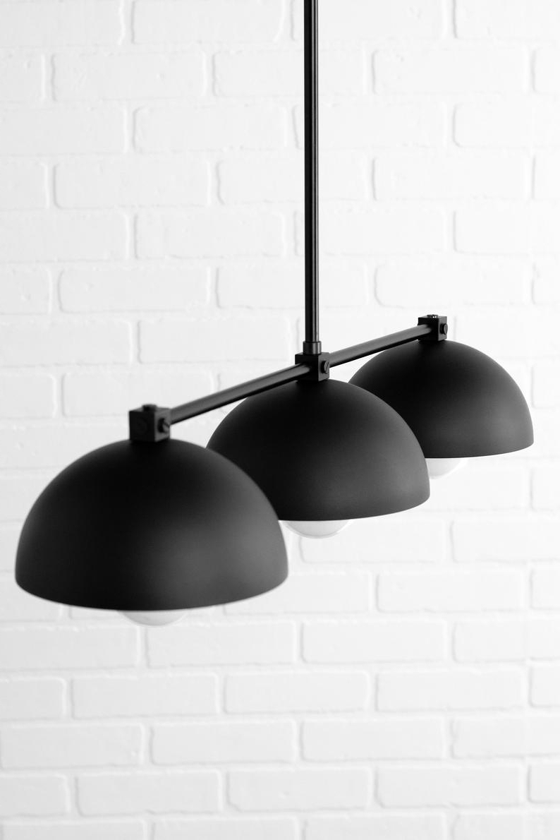 Best And Newest Industrial Black Dome – Three Shade Pendant Light – Kitchen Lighting – Long  Hanging Light – Island Lighting – Chandelier Lighting Pertaining To Martinique 3 Light Kitchen Island Dome Pendants (View 2 of 20)