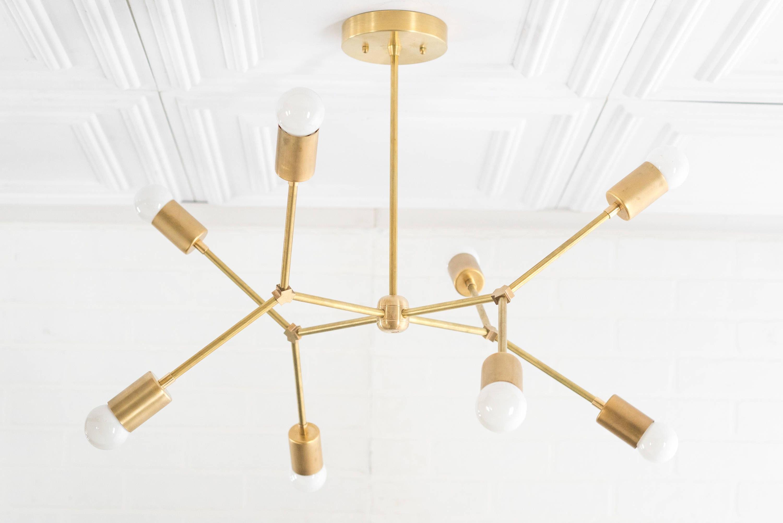 Best And Newest Johanne 6 Light Sputnik Chandeliers Inside Geometric Lamp – Modern Brass Chandelier – Ceiling Fixture (View 10 of 20)