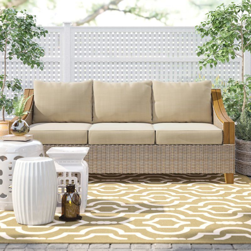 Best And Newest Montford Teak Patio Sofas With Cushions Throughout Kincaid Teak Patio Sofa With Sunbrella Cushions (Gallery 12 of 20)