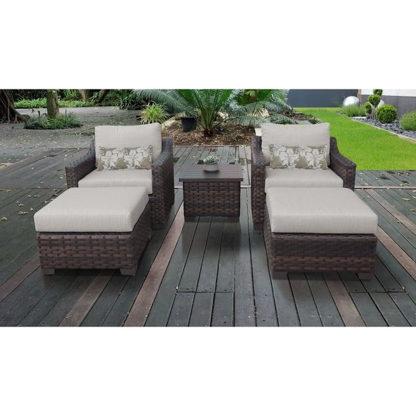 Best And Newest Oreland Patio Sofas With Cushions With Regard To Shop Kathy Ireland River Brook 5 Piece Outdoor Wicker Patio (View 3 of 20)