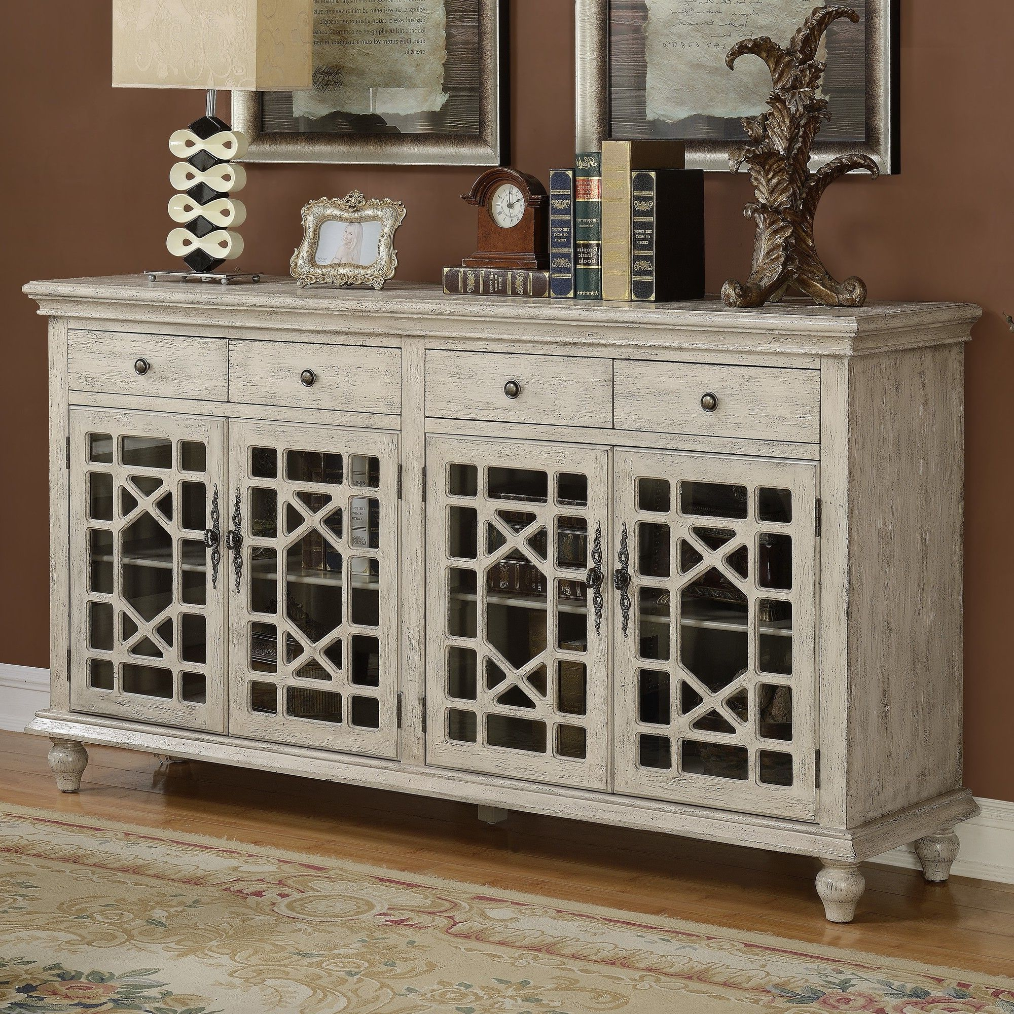 Best And Newest Raquette Sideboards In Features:  Included: 4 Door And 4 Drawer.  Hand Painted (Gallery 7 of 20)
