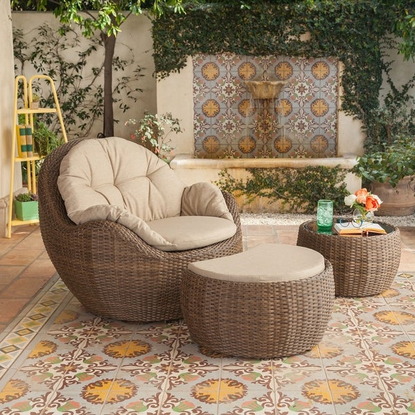Best And Newest Shop Greta Outdoor 3 Piece Wicker Furniture Set With With Regard To Greta Living Patio Sectionals With Cushions (View 7 of 20)