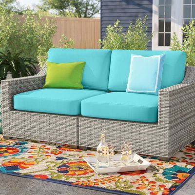 Best And Newest Sol 72 Outdoor Falmouth Patio Loveseat With Cushions Cushion Regarding Mcmanis Patio Sofas With Cushion (View 3 of 20)