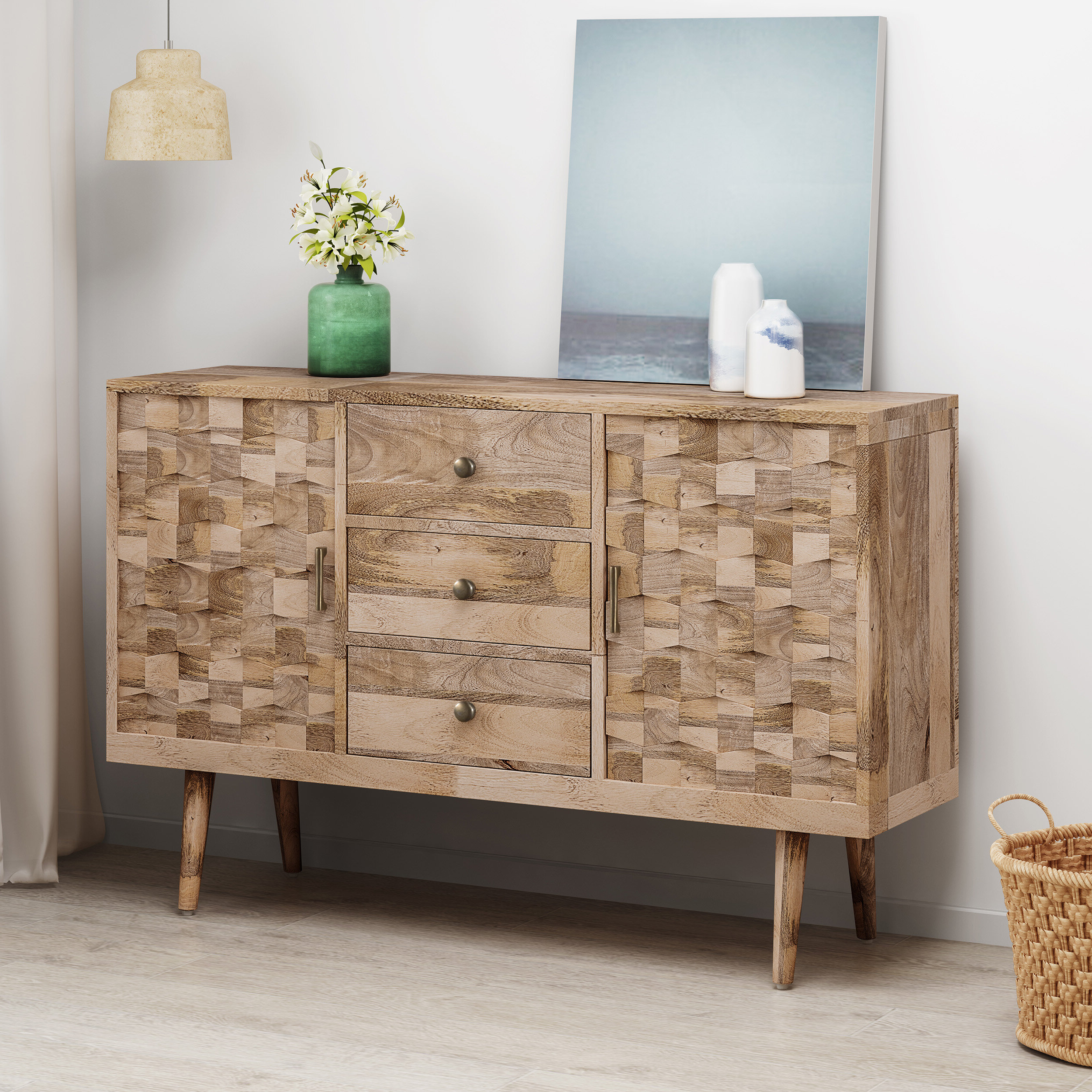 Best And Newest Westra Mid Century Modern Mango Wood 3 Drawer Sideboard Within Drummond 3 Drawer Sideboards (View 5 of 20)