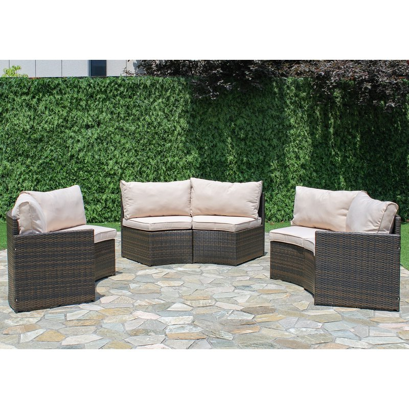 Best And Newest Wrobel Patio Sectionals With Cushion Regarding Griswold Patio Sectional With Cushions (View 9 of 20)