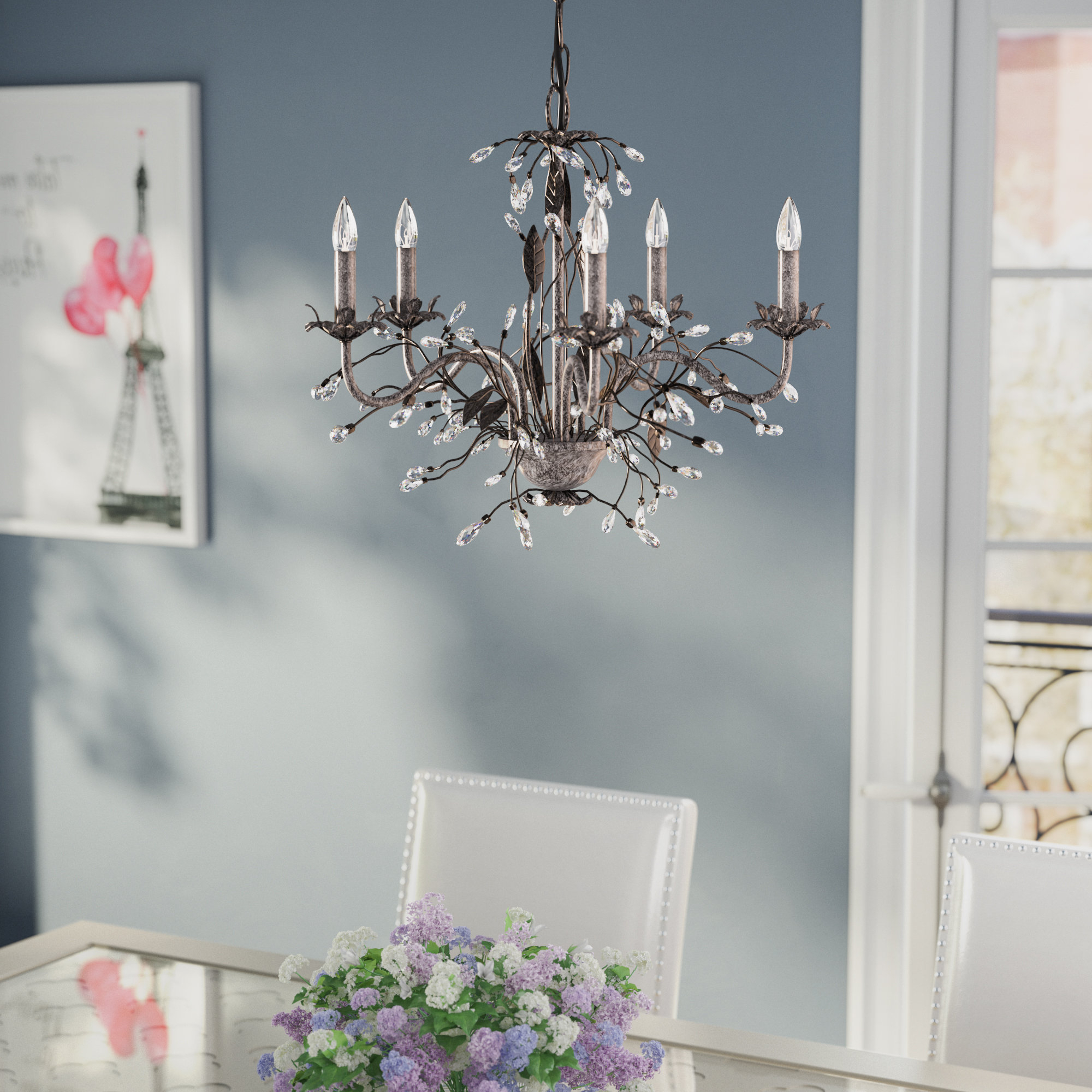 Blanchette 5 Light Candle Style Chandeliers Intended For Preferred Hesse 5 Light Candle Style Chandelier (View 7 of 20)