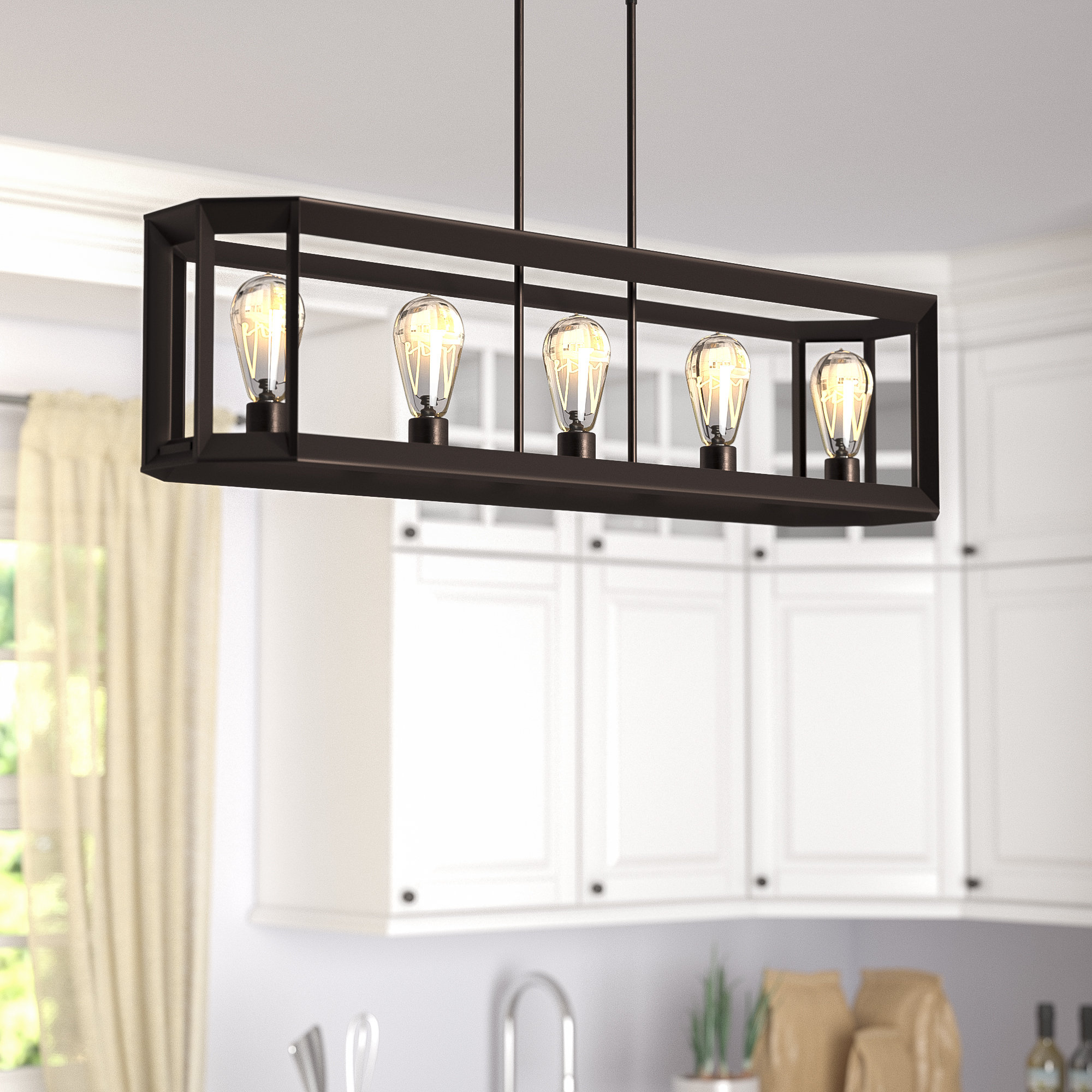 Bouvet 5 Light Kitchen Island Linear Pendant Inside Well Known Hinerman 5 Light Kitchen Island Pendants (View 10 of 20)