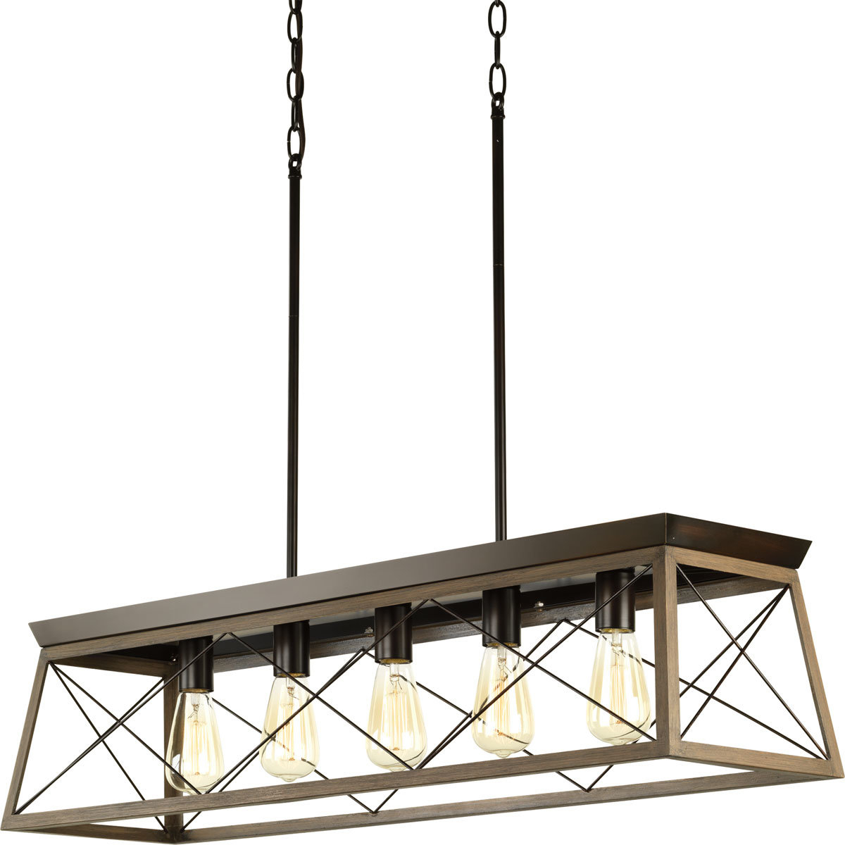 Bouvet 5 Light Kitchen Island Linear Pendants Within Most Current Delon 5 Light Kitchen Island Linear Pendant (View 8 of 20)