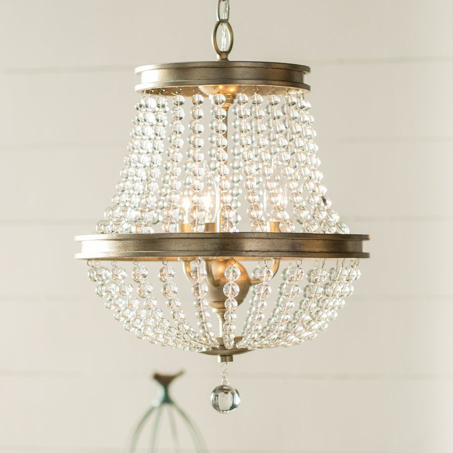 Bramers 6 Light Novelty Chandeliers Pertaining To Most Recent Papadopoulos 3 Light Crystal Chandelier $149 On Sale Birch (View 3 of 20)