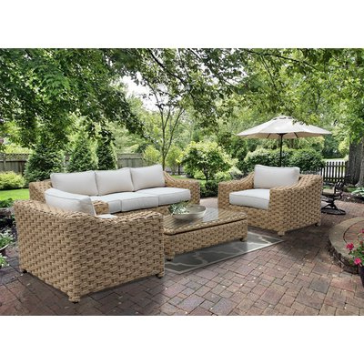 Brayden Studio Dutil 4 Piece Rattan Sofa Set With Cushions Within Most Current Avadi Outdoor Sofas & Ottomans 3 Piece Set (View 9 of 20)