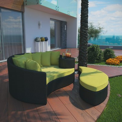 Brayden Studio Greening Outdoor Daybed With Ottoman Regarding Newest Greening Outdoor Daybeds With Ottoman & Cushions (View 4 of 20)
