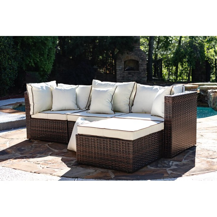 Brennon Cube Patio Daybeds With Cushions Pertaining To Most Popular Burruss Patio Sectional With Cushions (View 4 of 20)