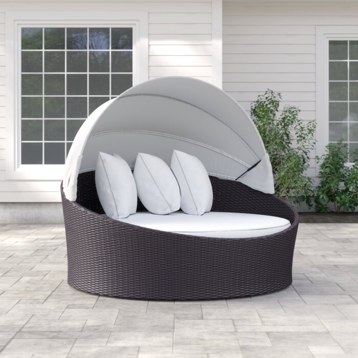 Brentwood Canopy Patio Daybed With Cushions In Current Lammers Outdoor Wicker Daybeds With Cushions (Gallery 11 of 20)