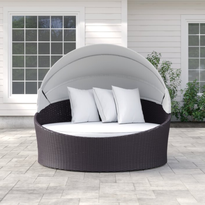 Brentwood Canopy Patio Daybed With Cushions Pertaining To Well Liked Gilbreath Daybeds With Cushions (View 3 of 20)