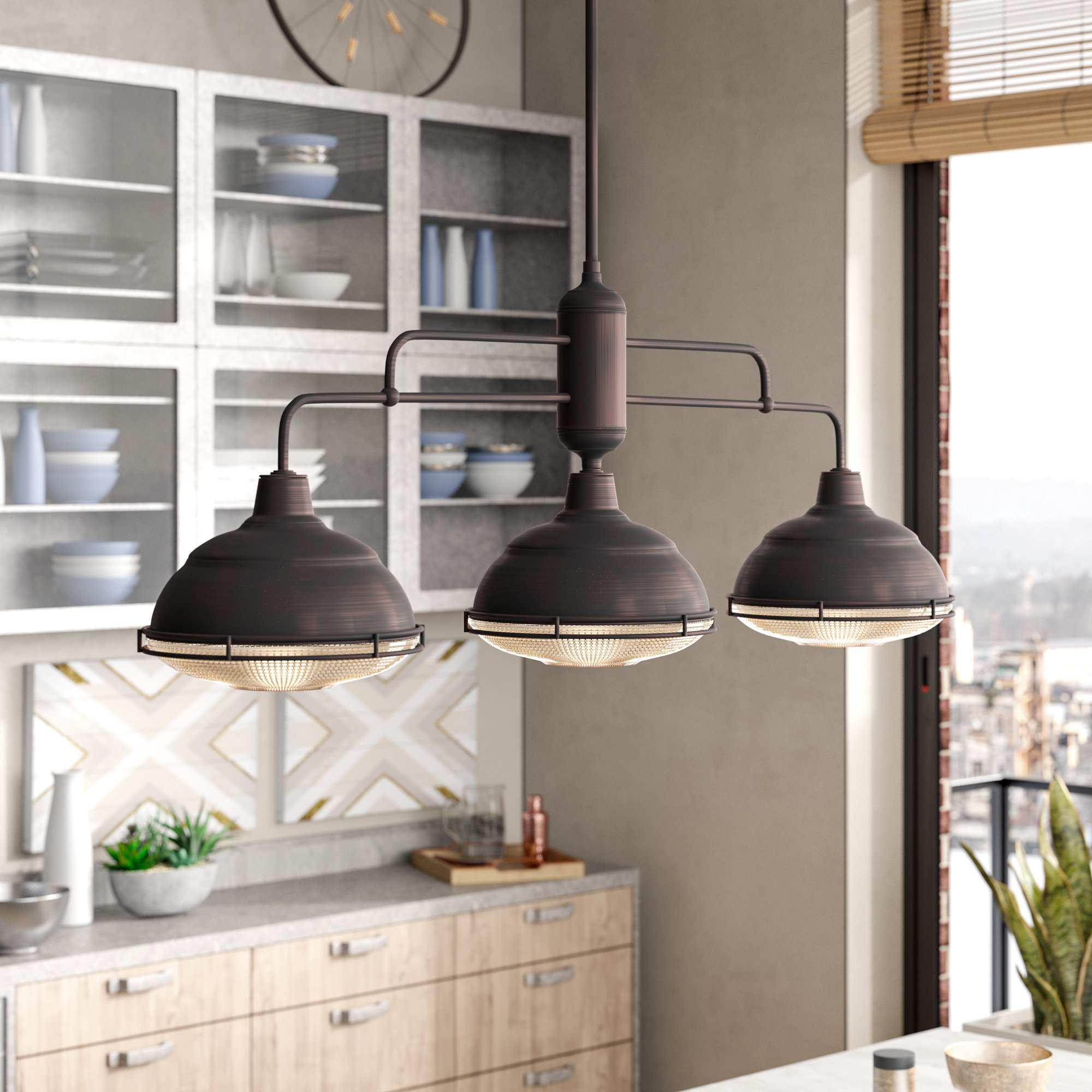 Bruges 3 Light Kitchen Island Dome Pendant Pertaining To Most Popular Martinique 3 Light Kitchen Island Dome Pendants (View 3 of 20)