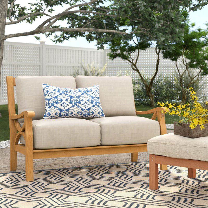 Brunswick Teak Loveseat With Cushions Pertaining To Latest Nadine Loveseats With Cushions (Gallery 12 of 20)