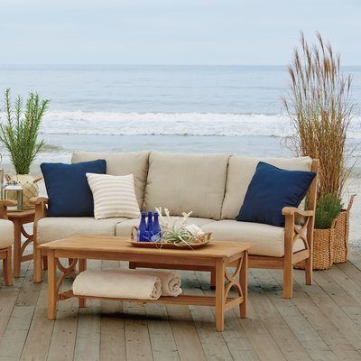Brunswick Teak Patio Sofa With Cushions Pertaining To Well Known Antonia Teak Patio Sectionals With Cushions (View 7 of 20)