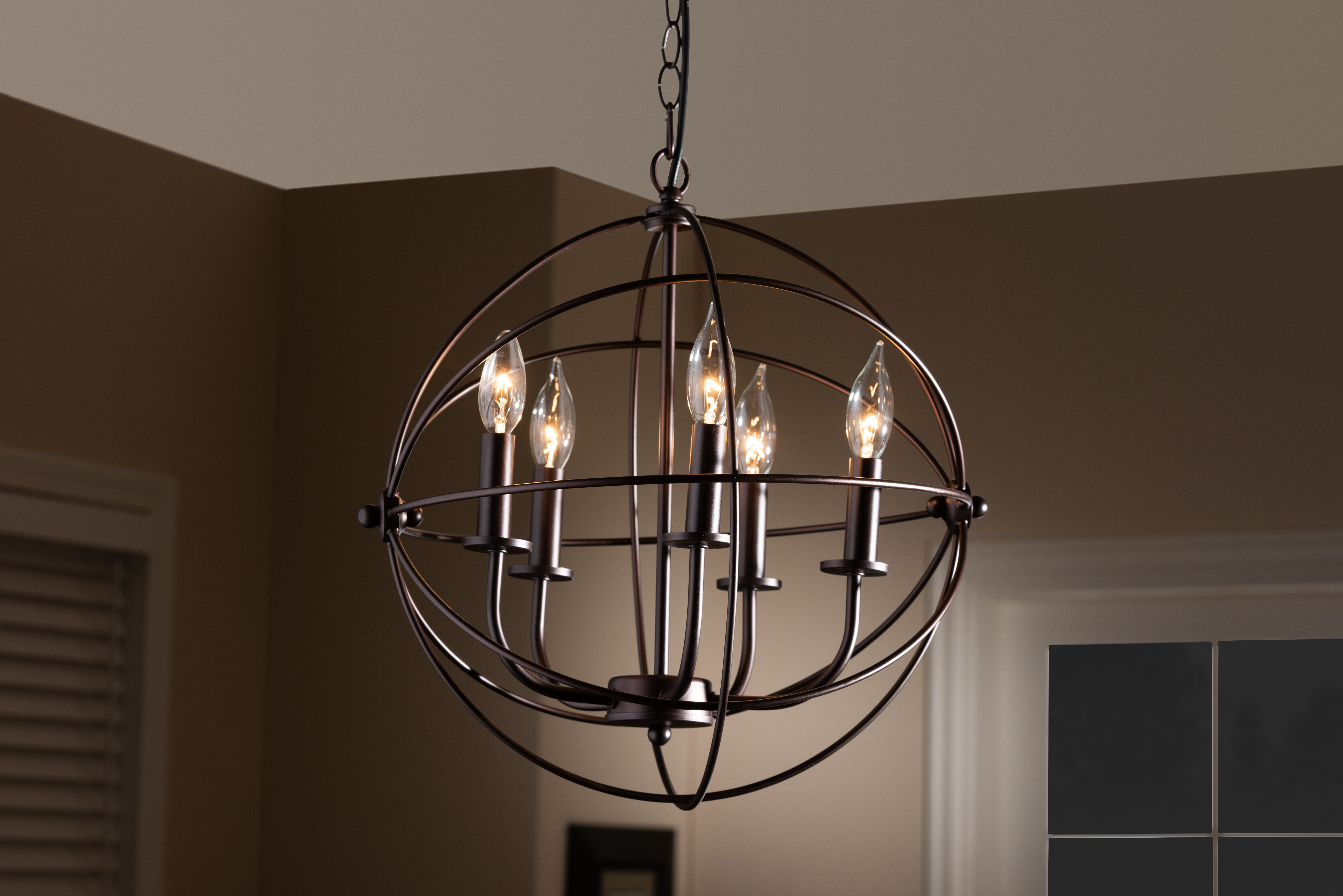 Bucci Orb Cage 5 Light Globe Chandelier With Regard To Famous Waldron 5 Light Globe Chandeliers (View 1 of 20)